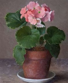 Pink Geranium - painting - By Gerald Norden