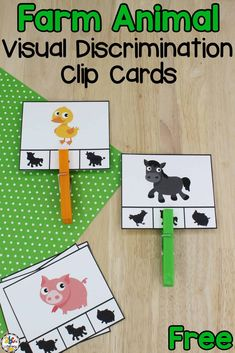 Are you looking for a fun way for your kids to work on developing their visual discrimination and fine motor skills? Then, you'll want these free Farm Visual Discrimination Clip Cards! Matching the farm animal to its shadow and clipping a clothespin onto the card will help your preschoolers and kindergarteners practice those skills and more! Click on the picture to get the free visual discrimination clip cards! #visualdiscrimination #finemotorskills #prereadingskills #prewritingskills #preschool