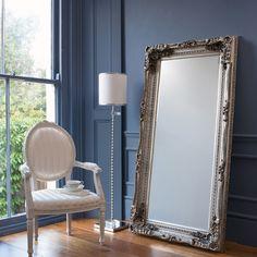 3ff198011db7 Gallery Carved Louis Silver Leaner Mirror Mirror Floor