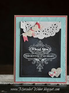 Stampin' UP! Chalkboard card...uses Hearts A Flutter dies, More Amore DSP, Honeycomb embossing folder and Paper Doilies from the 2013 Spring Catalog...all others from Annual Catalog