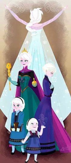 Elsa's life progression!! One of my favorite characters of all time, and my FAVORITE Disney princess!! Plus, this is my favorite color scheme..