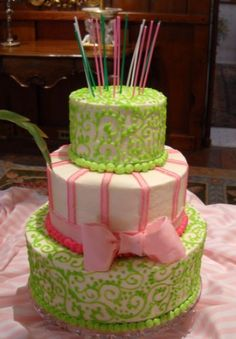 Celebration Cakes : Mary's Cakes & Pastries! northport Alabama  Pink and Green Birthday  Three double layer tiers with buttercream and fondant details.    Number of Serving: 102  Occasion: birthday   Mary's cakes are made fresh and are so very good to eat!