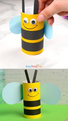 If you've got a little bee lover at home why not make this adorable kitchen or toilet paper roll bee craft.If you've got a little bee lover at home why not make this adorable kitchen or toilet paper roll bee craft. Bee Crafts For Kids, Toddler Crafts, Preschool Crafts, Diy For Kids, Kids Crafts, Wood Crafts, Toilet Paper Roll Crafts, Toilet Paper Rolls, Toilet Roll Craft