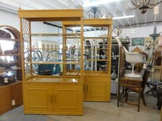 Ficks Reed Faux Bamboo Rattan Cabinet