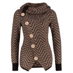Chic Turtleneck Long Sleeves Button Design Knitted Women's Jacket