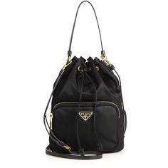 Prada Mini Nylon & Leather Bucket Bag featuring polyvore, women's fashion, bags, handbags, shoulder bags, apparel & accessories, black, leather shoulder bag, prada shoulder bag, mini handbags, genuine leather handbags and drawstring shoulder bag