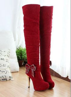 Red thigh-high boots