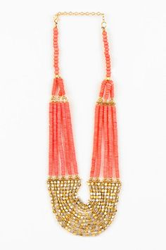 Rock Candy Bib Necklace in Coral $14 at www.tobi.com