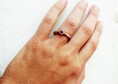 Simple and Original Garnet gemstone ring Copper and by Le7Lune