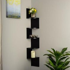 Black Laminate Large Corner Wall Mount Shelf