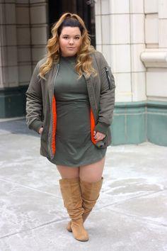 Military green x hunter orange bomber jacket and olive suded dress on NatalieintheCity.com!