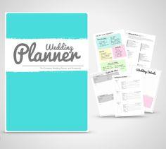 Wedding Planner Binder Printable Teal Wedding planner organiser folder, Instant Digital Download, by WeddingToolzStore on Etsy