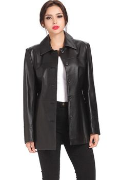"BGSD Women's ""Megan"" Button Front Lambskin Leather Car Coat. Check out this great style for $229.99 on Luxury Lane. Click on the image above to get a coupon code for 10% off on your next order."