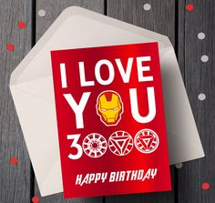 Marvel Avengers Valentine's Day Card, End Game Iron Man Valentine Card for Him, I Love You 3000 Valentine, Iron Man Card Anniversary Cards For Him, Birthday Cards For Him, Card Birthday, Diy Gifts For Men, Diy For Men, Valentine Day Cards, Valentines, Iron Man Birthday, Marvel Gifts