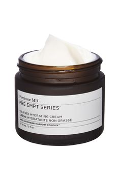 A green tea-based complex protects skin from premature aging in Perricone MD Pre:Empt Moisturizer.