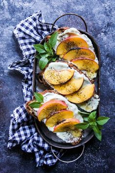 Grilled Peach & Whipped Blue Cheese Toast