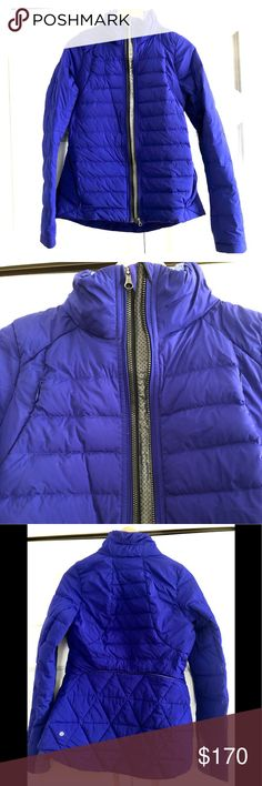 EUC lululemon Fluff Off Puffer Jacket, 8 lululemon Fluff Off Puffer Jacket in a super rare, gorgeous color! Bright indigo , purplish blue!!! Heather blue details are cuffs and collar. Double zip front with choice of reflective Zipper. Thumb holes at cuffs. Pockets and air vents. Size 8. Normal wear but no true flaws to speak of- no rips, tears or stains. lululemon athletica Jackets & Coats Puffers