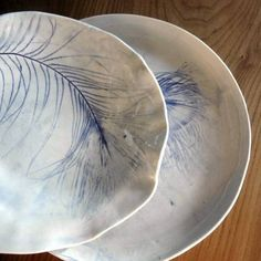 Ceramic Plates: Love feathers plus Ceramics!!