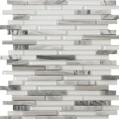 Emser Tile Lucente Random Sized Glass & Stone Glossy Mosaic in Grazia Linear