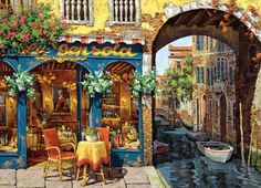 Cafe on the Canal Venice Cobble Hill 1000 Piece Jigsaw Puzzle by Artist Viktor Shvaiko, $16.50
