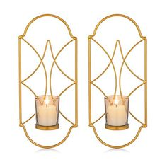 Sziqiqi Metal Wall Sconce Candle Holder Decor Set of 2 Wall Mounted Candle Sconces Holders with Glass, Candle Sconces... Living Room With Fireplace, Living Room Art, Chandeliers, Cheap Candles, Candle Holder Decor, Black Candles, Candle Wall Sconces, Iron Wall, Glass Candle