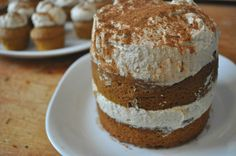 pumpkin cake with chai whipped cream.