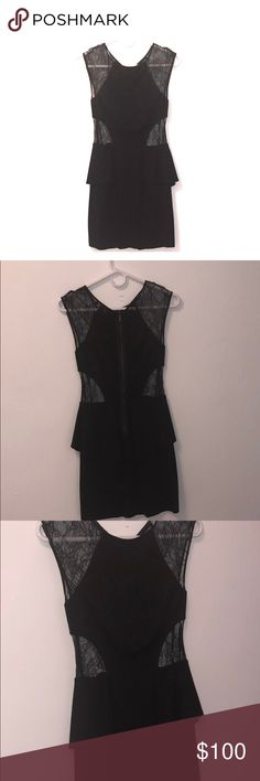 Bebe Black laced peplum dress Perfect LBD!! Zipper down laced back, cut out sides and shoulders. Perfect amount of sexy and classy... great condition.. worn once.. bebe Dresses Mini