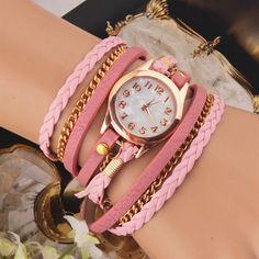 Casual Women Woven Wrap Strap PU Leather Band Bracelet Watch at Banggood