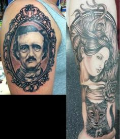 My name is c-mo! this is my edgar allan poe tattoo sleeve (so far) for more details on my artists, inspiration, handlebar mustache, etc. check out my video Skull Tattoos, Love Tattoos, Tattoos For Guys, I Tattoo, Edgar Allen Poe Tattoo, Edgar Allan Poe, Framed Tattoo, Handlebar Mustache, Wolf