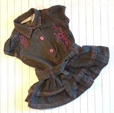 a90588d859 Carter s Denim Dress Hot Pink Star Embroidery Ruffles Dark Wash 24M 24  Months Pink Stars