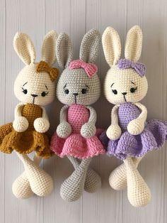 Crochet Toys, Free Crochet, Knit Crochet, Amigurumi Toys, Amigurumi Patterns, Crochet Bunny Pattern, Crochet Patterns, Cute Bunny, Lana