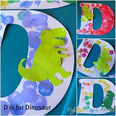 D is for dinosaurs( have the children rainbow write and glue on dinosaur cut outs)