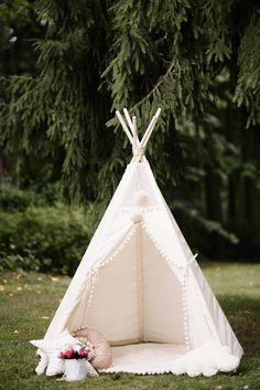 Kids teepee has a supportive system, so is firm, stable and safe for all ages! Kids teepee can be used indoors and outdoors. We recommend to have a mat under. A version with a matching play mat is available here: