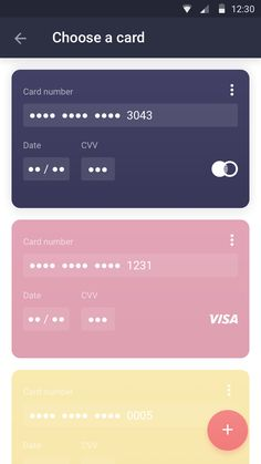 Confirm your order  choose card