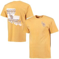 LSU Tigers Baseball Laces State Comfort Colors T-Shirt - Gold - $22.99