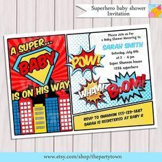Superhero Baby Shower Invitation Printable - Invite Card - Personalized invitation - Super hero Boy Baby Shower by ThePartyTown on Etsy https://www.etsy.com/listing/157108454/superhero-baby-shower-invitation