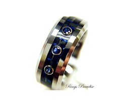 Mens Titanium Ring Wedding Bands Rings Blue от RingsParadise