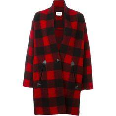 Isabel Marant Étoile Gabrie Coat ($355) ❤ liked on Polyvore featuring outerwear, coats, black, print coat, mid length coat, patterned coat, etoile isabel marant coat and shawl collar coat