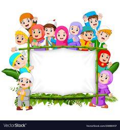A family are holding jungle woodeen banner Vector Image Cartoon Kids, Cute Cartoon, Schrift Design, Moslem, Kids Background, Vector Background, Islamic Cartoon, School Frame, Powerpoint Background Design