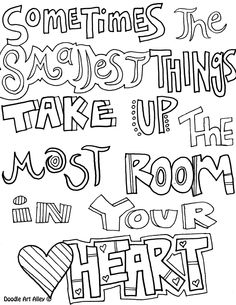 doodle coloring pages with quotes inspirational words for the