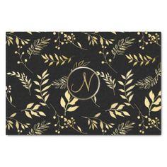 Black Gold Leaves Chic Monogram Letter Initial Tissue Paper - bridal shower gifts ideas wedding bride