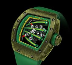Richard Mille RM 59-01 Yohan Blake. Limited edition of 50 pieces. Manual winding tourbillon movement with hours, minutes. The case is made from a translucent composite composed of injected carbon nanotubes.