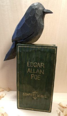 Hand Carved Raven Perched on Hand Carved Book of Poe