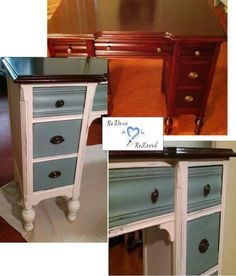 Antique desk refinished in Annie Sloan Chalk Paint Old White and Duck Egg blue.
