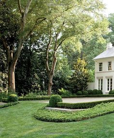 This can be accomplished with Boxwoods or Dwarf Yaupons and Ivy or Asiatic Jasmine as the ground cover. Formal Gardens, Outdoor Gardens, Dream Garden, Home And Garden, Garden Pool, Sloped Garden, Garden Bed, White Gardens, Front Yard Landscaping