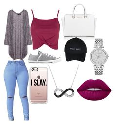 """""""Untitled #30"""" by cravekiah ❤ liked on Polyvore featuring Topshop, Converse, Michael Kors, Casetify and Lime Crime"""