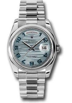 Rolex Watches: Day-Date President Platinum - Domed Bezel - President 118206 glawap