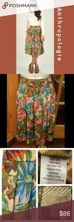 ANTHROPOLOGIE - Postella  Med Floral Knee Skirt This is such a fun and beautiful skirt.  It has a hidden side zipper and 2 pockets.. nwot.. tried on..Not worn.  100 SILK. from Anthro. Measurements taken flat. -WAIST- 16in .. length waist to hem -25in. Anthropologie Skirts Midi