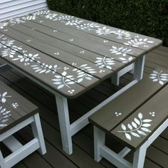Renew an old picnic table with stencils and paint - Or we can start painting Steves kids picnic tables. Painted Picnic Tables, Painted Benches, Kids Picnic Table, Picnic Table Paint, Furniture Projects, Furniture Makeover, Diy Furniture, Diy Projects, Furniture Design