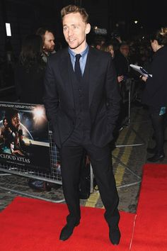 British GQ Most Stylish Men Of The Week 22.02.12 Tom Hiddleston: For most the highlight of the premiere of Cloud Atlas was seeing Hugh Grant play a futuristic cannibal. For us however, it was Hiddleston's choice of tailoring.